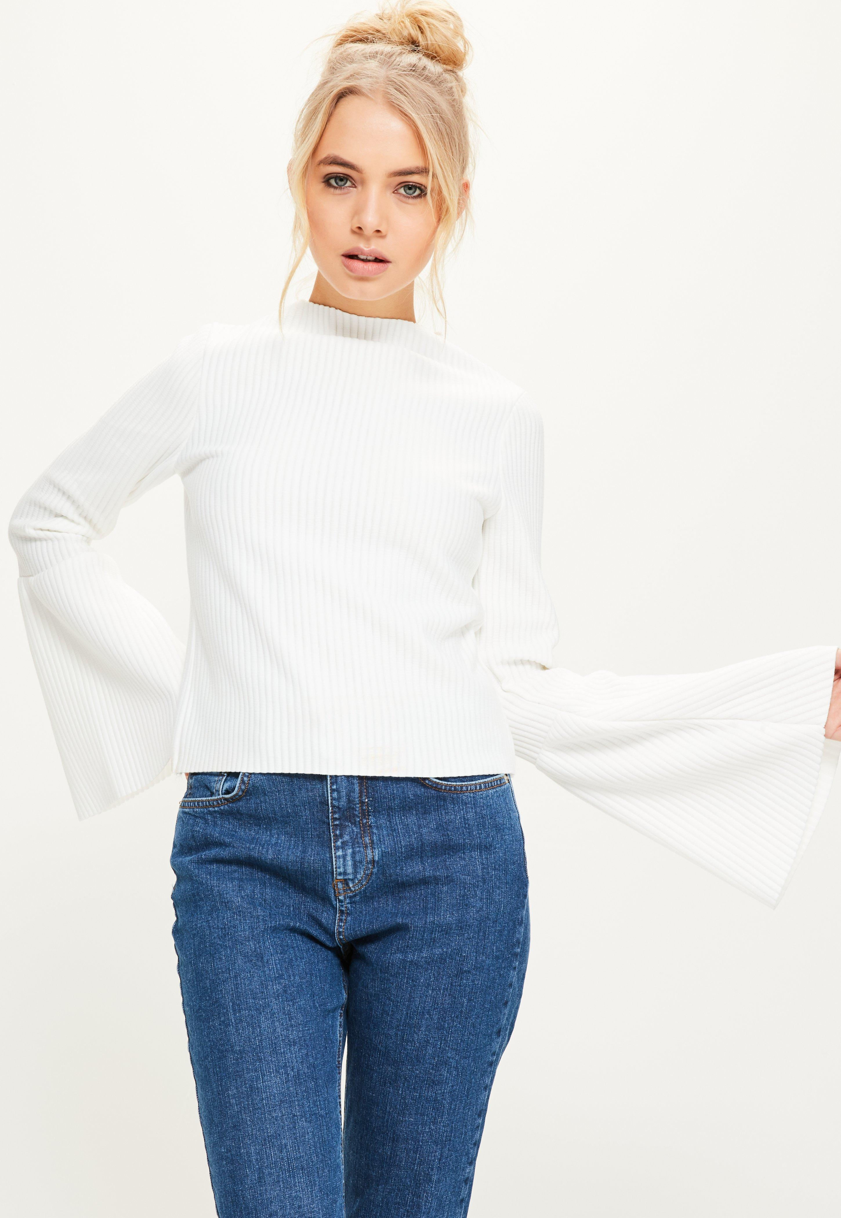 White High Neck Ribbed Flared Sleeve Top Missguided