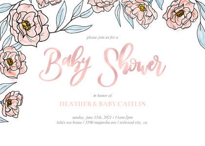 Soft Fls Baby Shower Invitation
