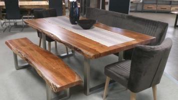 Esstisch MADRAS Massivholz Akazie 210x110 cm mit Baumkante