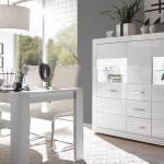 Highboard Bianco Vitrine Buffet Schrank In Weiss Hochglanz Mit Glas