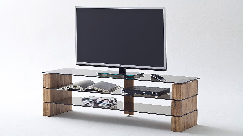 tv rack kari tv board lowboard in eiche massiv glas grau 160