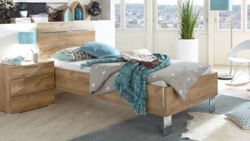 Bett LEVEL BEDS Bettensystem Plankeneiche Chrom 90x200