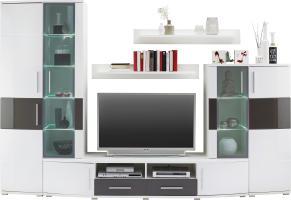 Wohnwand Weiß/Grau Hochglanz online kaufen mömax