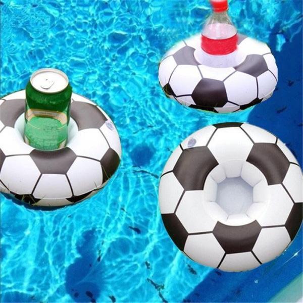 Present - Uppblåsbar dryckeshållare pool fotboll, 1 st (FRI FRAKT)