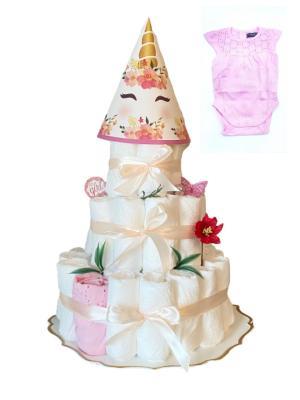 Blöjtårta XL till Babyshower, Rosa