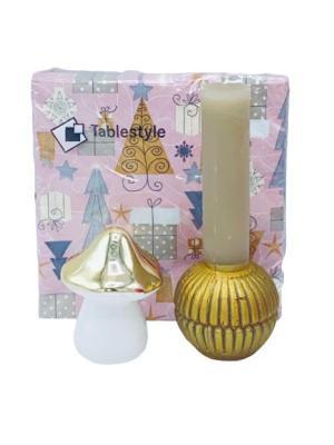 Presentpåse julklapp - servetter, ljus, svamp