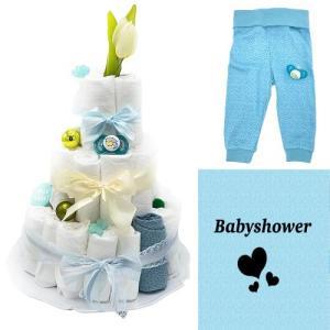 Blöjtårta XL till Babyshower Blå/creme