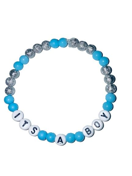 "Handgjort armband ""Its a boy"" Babyshower inkl organzapåse"