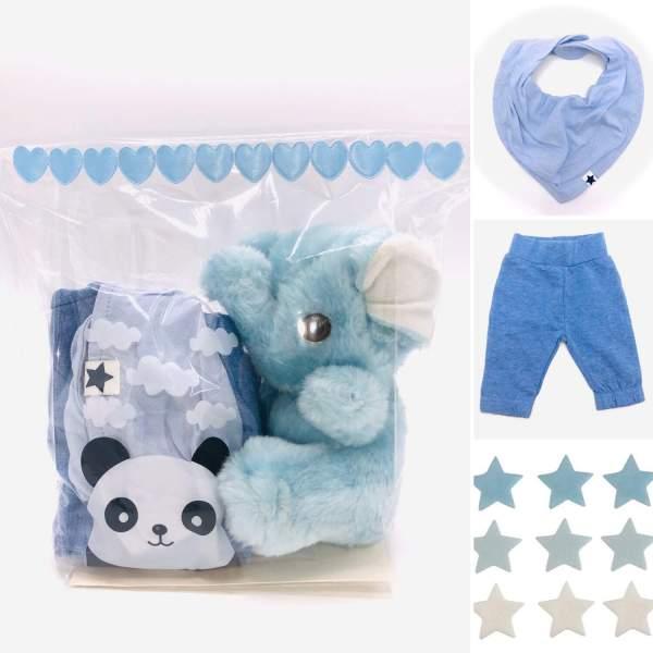 Presentpåse bebis - elefant, byxor, dregglis