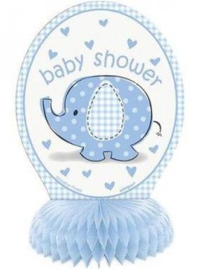 Honeycomb Babyshower blå, 15 cm, bordsdekoration