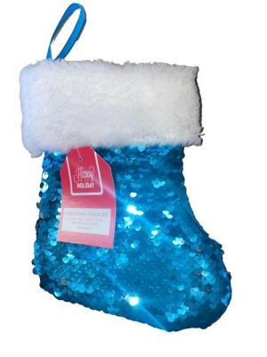 Julstrumpa paljetter adventskalender blå/silver