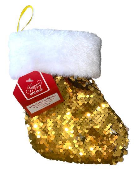 Julstrumpa paljetter adventskalender guld/silver