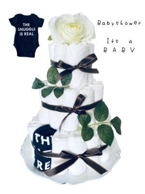 Blöjtårta XL till Babyshower Svart/vit