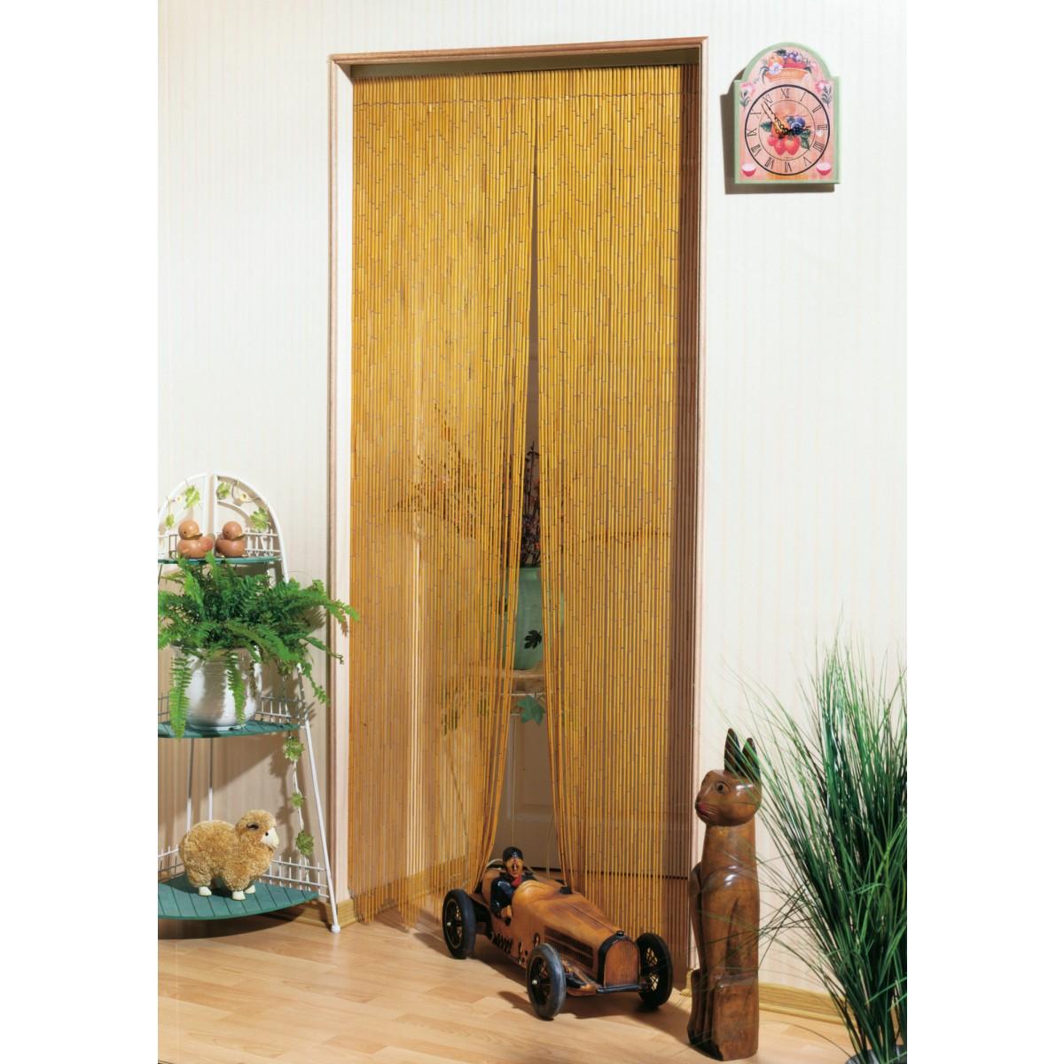 rideau de porte bambou naturel morel 120 x 220 cm