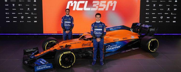 La presentazione della nuova MCL35M con Ricciardo e Norris