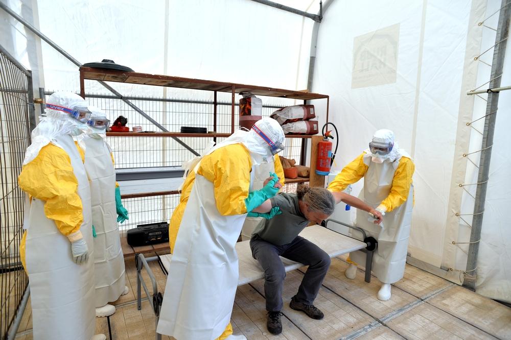Training Ebola care providers.