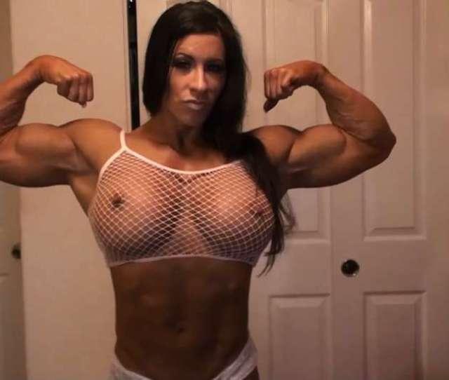 Muscle Pornstar Angela Salvagno Big Bicep Flex Amazing Nude Female Bodybuilder