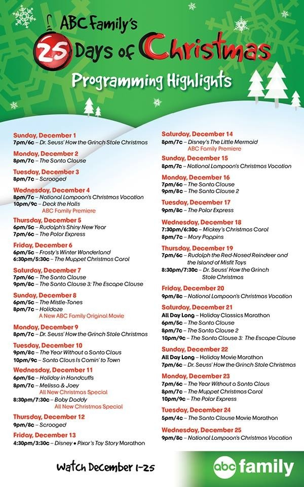 abcs 25 days of christmas 2013 - Abc Family 25 Days Of Christmas Schedule