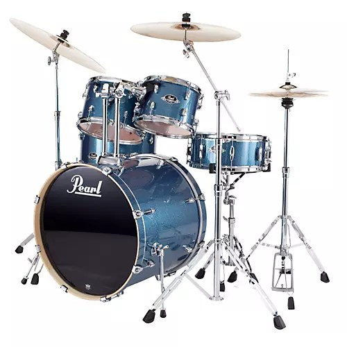 Pearl Export Fusion 5 Piece Drum Set with Hardware Aqua Blue Glitter     Pearl Export Fusion 5 Piece Drum Set with Hardware