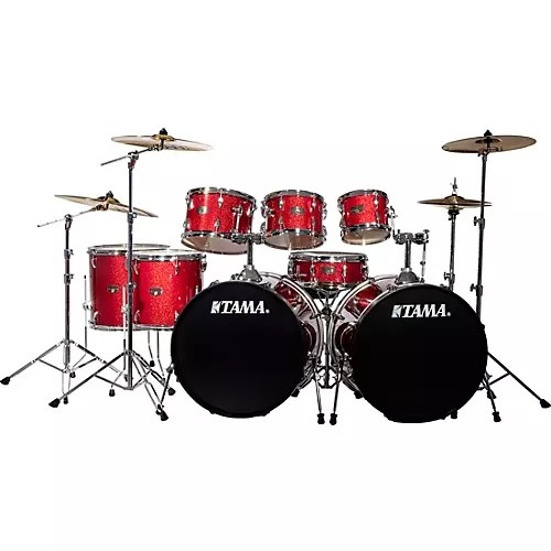 tama imperialstar 8 piece double bass drum set with meinl hcs cymbals