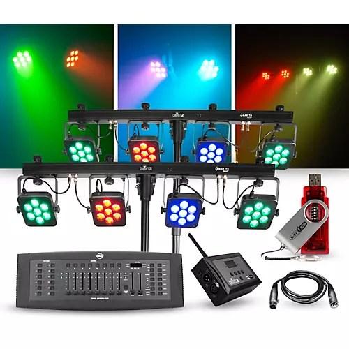 chauvet dj lighting package with two 4bar tri usb led fixtures dmx operator d fi hub and d fi usb