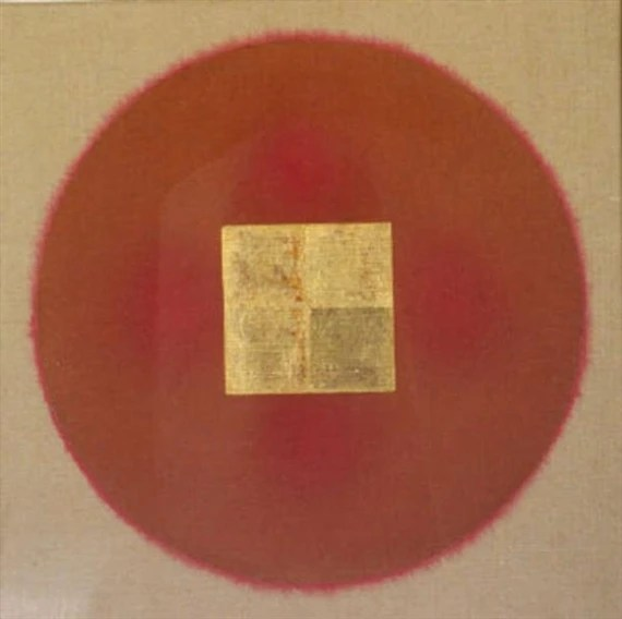 Patrick Scott, Gold Square On Red Sun Gold Leaf And Tempera