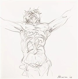 Artwork by Peter Howson, Christ Seen From The Foot Of The Cross, Made of graphite