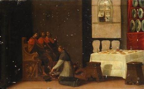 Artwork by Jacopo Chimenti, SANTO ACCOGLIE PELLEGRINI CON LA LAVANDA DEI PIEDI, Made of oil on panel