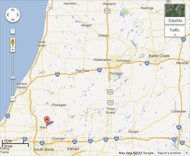 Niles is south west of Kalamazoo near the Indiana border