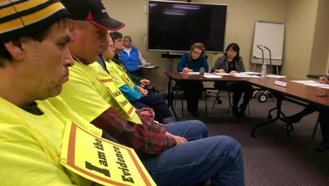People living near the Shirley Wind Farm in southern Brown County attend a meeting of the Board of Health on January 12, 2016. (Photo by Jeff Flynt/Midwest Communications).