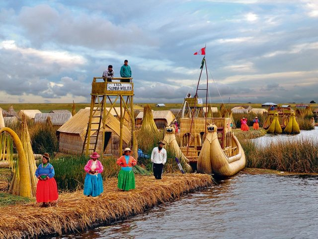 Image result for floating reed Islands of the Uros Indians