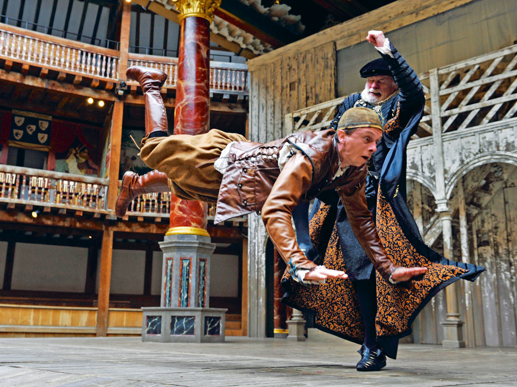 Actors at their dramatic best in the Shakespearean comedy, The Taming of the Shrew, at London's Globe Theatre. Photo by: Robbie Jack/Contributor/Getty Images