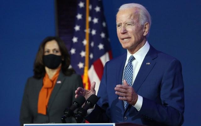 President-elect Joe Biden speaks to the media while flanked by Vice President-elect Kamala Harris