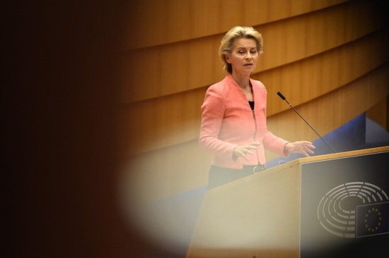 Ursula von der Leyen delivers a State of the Union address in the European Parliament in Brussels