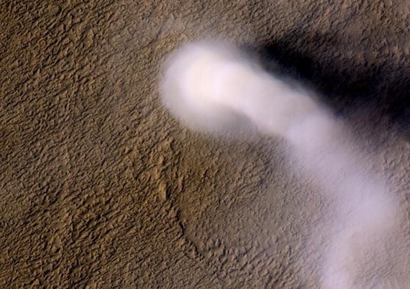 A Martian dust devil roughly 12 miles (20 kilometers) high