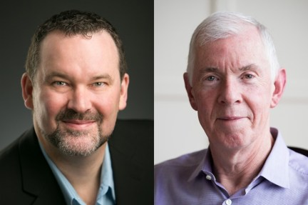 Diptych of portraits of Ian MacLachlan and Tom Madden