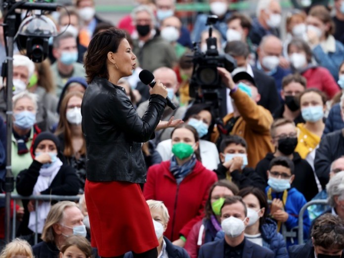 Green Party chancellor candidate Annalena Baerbock at an election rally.