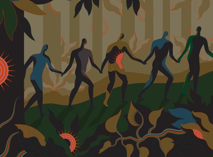 Ilustración de una línea de personas caminando a través de una jungla llena de virus Sars-CoV-2.