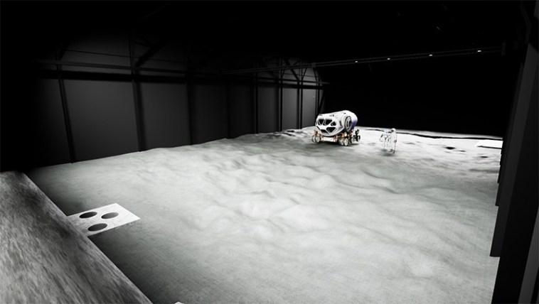 VR render of the LUNA regolith test bed area