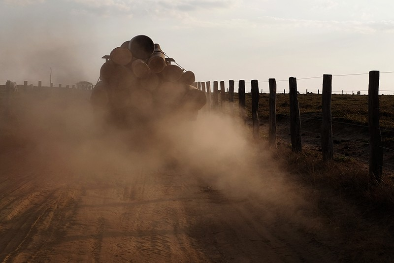 A logging truck lumbers down a road leading out of the Araribóia Indigenous Reserve, Maranhão, Brazil