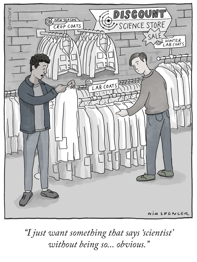 """Cartoon: Person shopping for lab coats says """"I just want something that says 'scientist' without being so… obvious."""