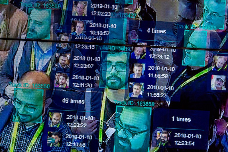 A live demonstration uses artificial intelligence and facial recognition during CES 2019 in Las Vegas