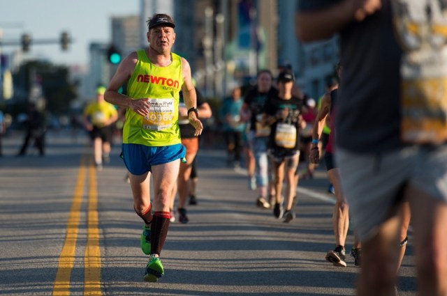 Man participating in the 5k race during the Rock n Roll Virginia Beach Half Marathon, Virginia