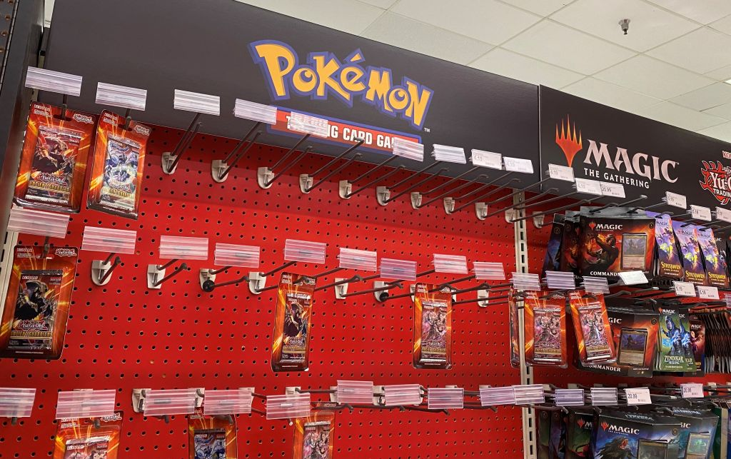 Pokemon trading cards are diplayed on shelves at a local Target store in Los Angeles, California on May 14, 2021. - US retail giant Target announced Friday it was suspending sales of Pokemon and other trading cards amid concerns that a buying frenzy is threatening the safety of shoppers and staff.