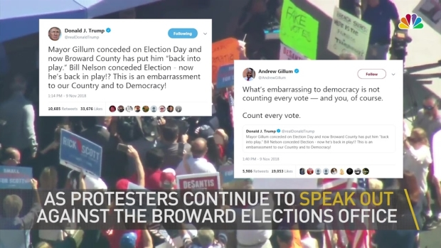 [MI]  «Enfermez-la»: les manifestants chantent devant le bureau des élections à Broward