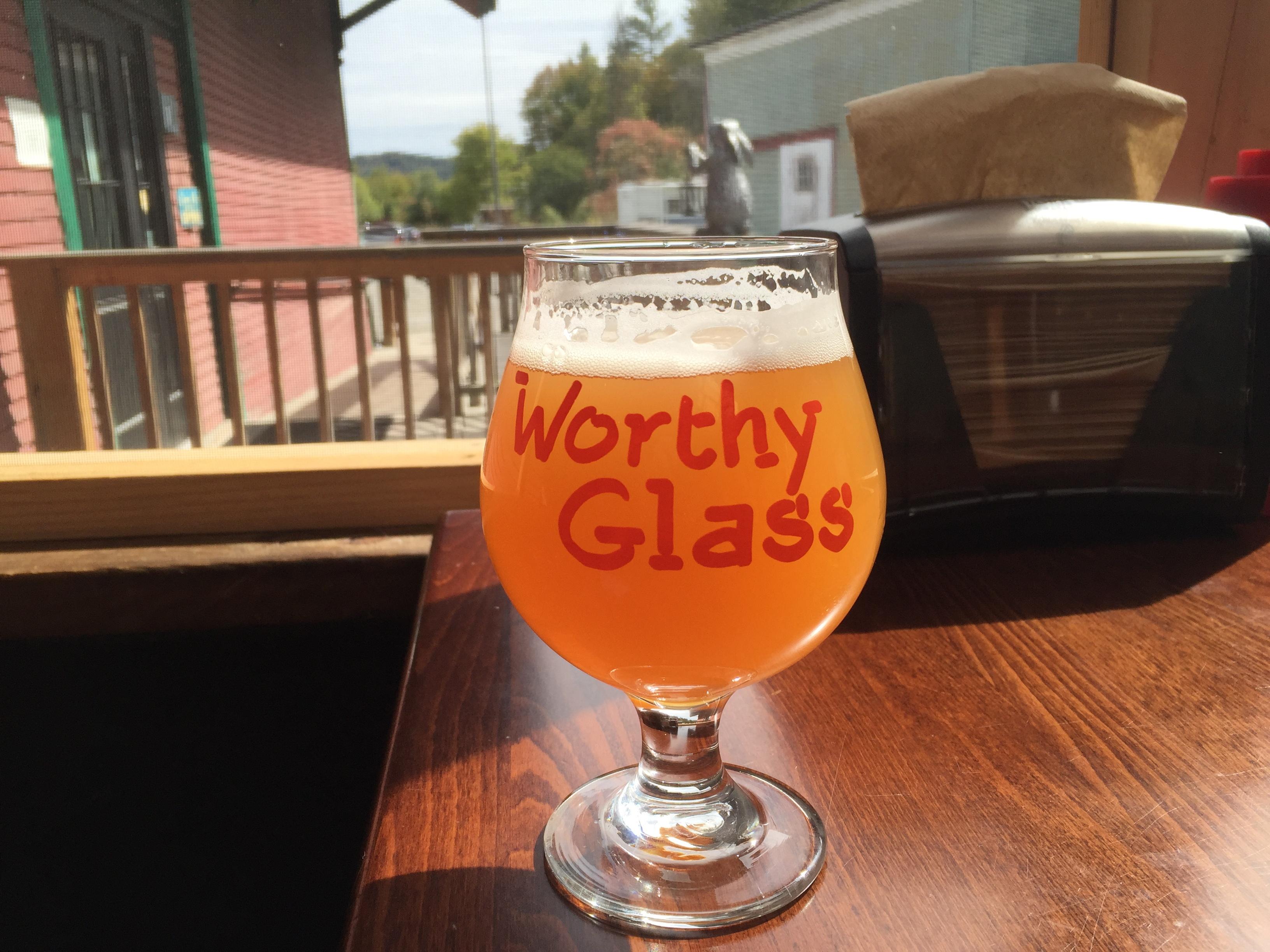 A beer at Worthy Burger