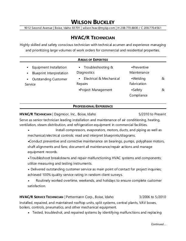 Hvac Resume Example. Hvac Resume Sample Pdf. Hvac Resume 8 Free