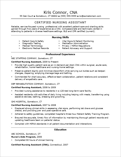 Resume Examples Nursing Assistant. Nursing Assistant Resume