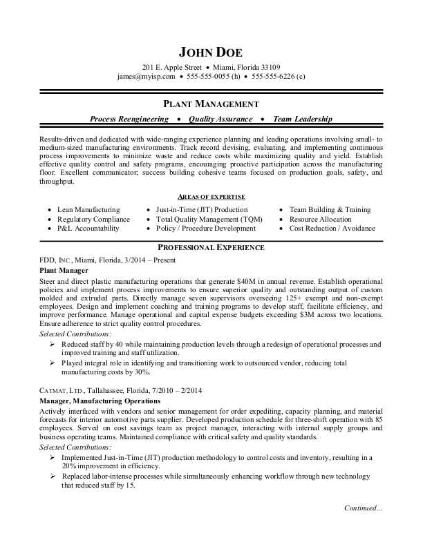 Manufacturing Plant Manager Resume Sample