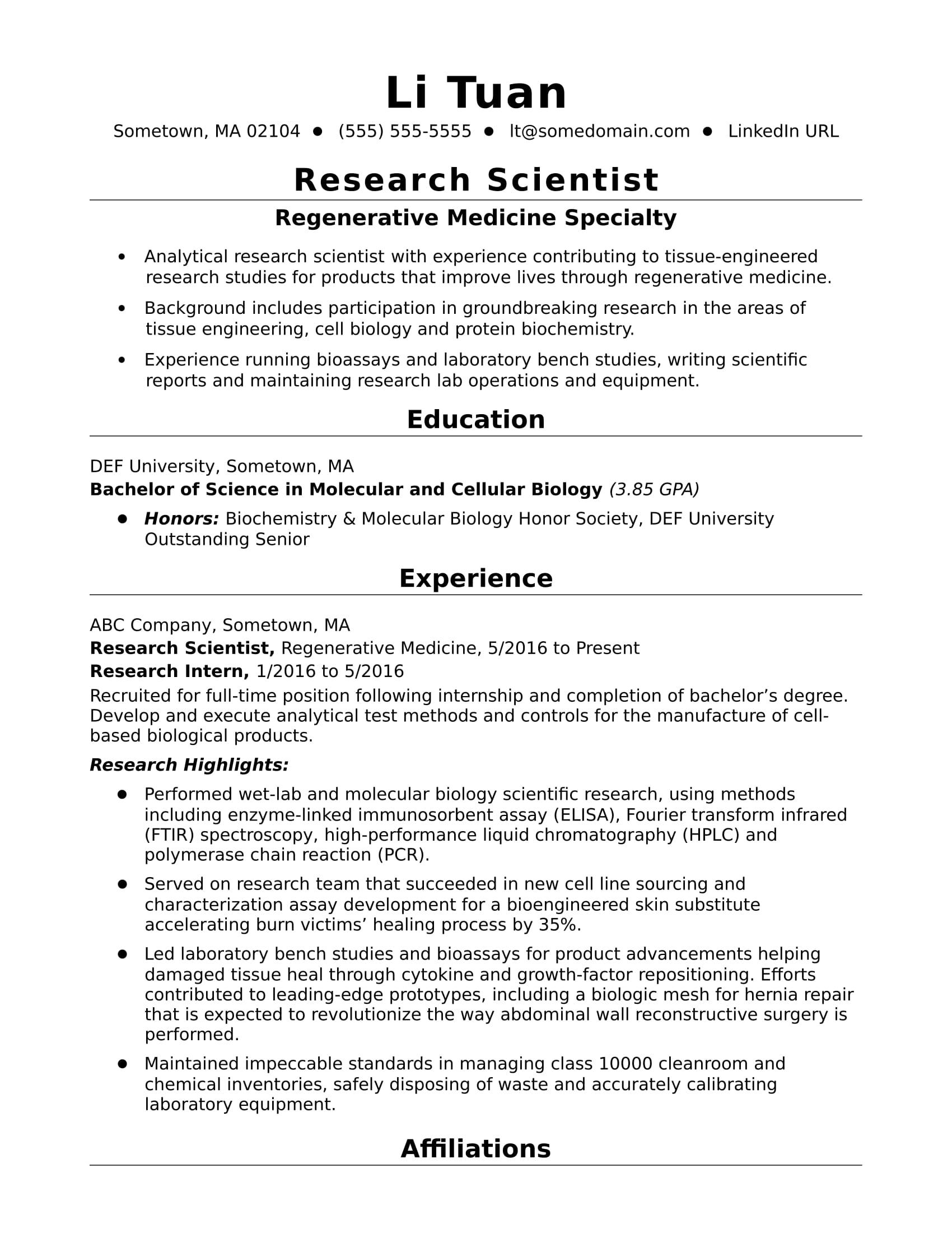 Entry Level Research Scientist Resume Sample Monster Com